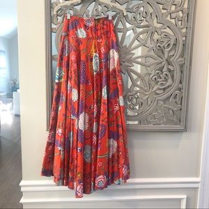 Vibrant Gorgeous Red Multi Color Floral Flare Maxi